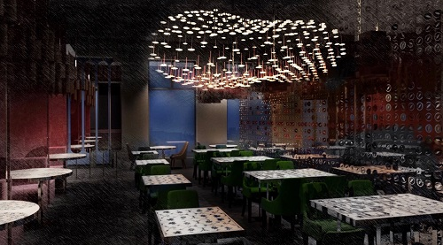 Bombay Velvet has a central chandelier made with 380 lights, which will adorn the dining room