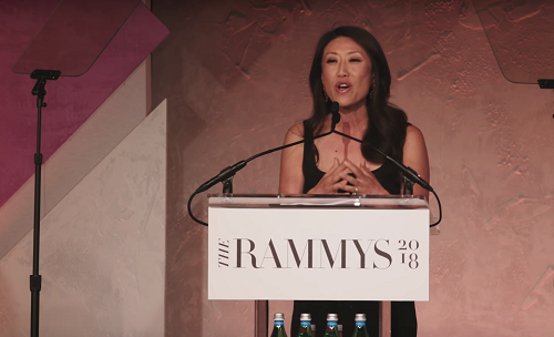 Eun Yang of NBC4 announces award winners at The RAMMYS 2018. Photo by Eatery Pulse Media.