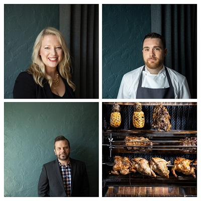 lockwise from top left: Victoria Trummer, Chef John Cropf, the new rotisserie and Stefan Trummer. Photos by Jennifer Chase.