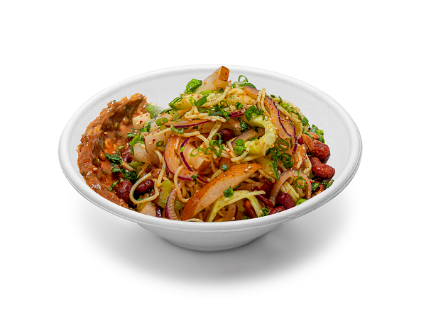 The Peanut Noodle Bowl at Capital One Arena is sweet, with a hint of spice, sun noodles and fresh veggies with peanut sauce. Photo by Aramark.