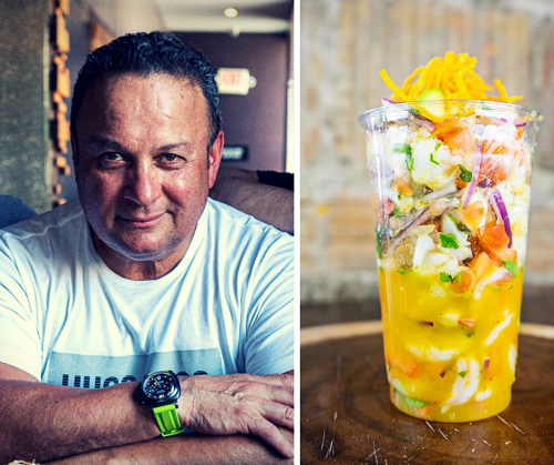 Taco Rock's menu unpacks a lot of creativity in Rosslyn, Va. From left to right: Mike Cordero, chef and president, and the Shrimp Ceviche.