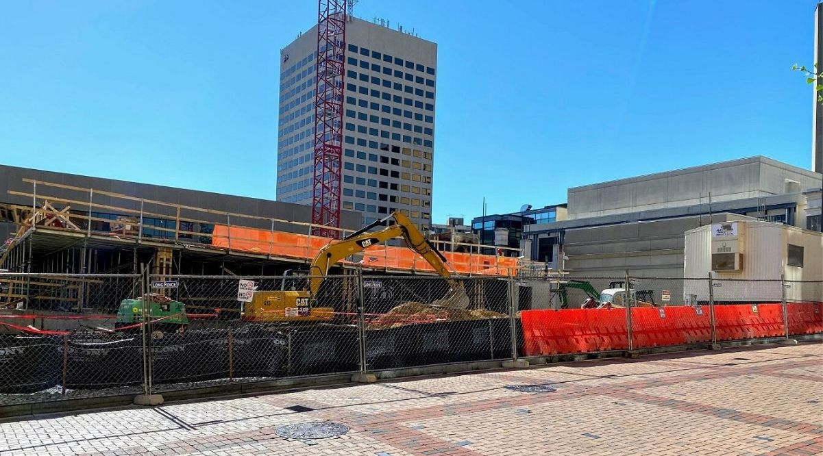 Work progresses on the Rockville Town Center Phase 2 project in Rockville MD. The mixed-use project will add 250 market-rate apartments and 150 senior housing units. The project is expected to be completed in mid-2021