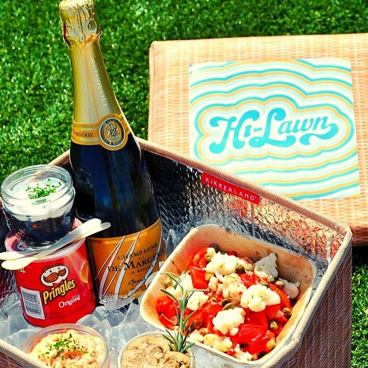 Hi-Lawn is kicking things off for the season, with a Picnics + Cookouts menu, savoring the last of DC's warm weather. Curated picnic basket coolers come stocked with all the finest outdoor gathering essentials – from the p; to 'hi-roller' options like caviar + Pringles, brown butter lobster rolls, and homemade lemon curd cheesecake.