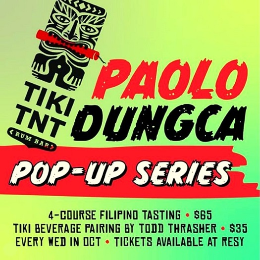 Tiki TNT will host a Filipino Pop-up dinner series each Wednesday in October. Dinner dates, which will be hosted by Chef Paolo Dungca—a Filipino native—will fall on October 7, 14, 21, and 28. Dungca will treat diners to authentic creations, such as Root Vegetables, Pumpkin Ukoy [shrimp fritters]