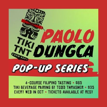 Tiki TNT will host a Filipino pop-up dinner series each Wednesday in October. Dinner dates, which will be hosted by Chef Paolo Dungca—a Filipino native—will fall on October 7, 14, 21, and 28. Dungca will treat diners to authentic creations, such as Root Vegetables, Pumpkin Ukoy (shrimp fritters) with Cane Vinegar Aioli